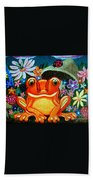 Frog And Flowers Beach Towel