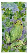 Frog In The Pond Beach Towel
