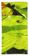 Frog On Lily Pad Beach Towel