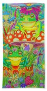 Frogs And Mushrooms Beach Towel