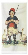 Frolic For Fun Boy And Geese Beach Towel