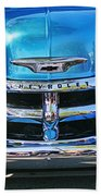 Front End Blue And Chrome Chevy Pick Up Beach Towel