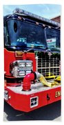 Front Of Fire Truck With Hose Beach Towel