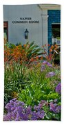 Flowers In Front Of Napier Common Room At Pilgrim Place In Claremont-california Beach Towel