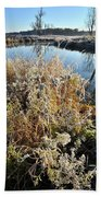 Frost Along Nippersink Creek In Glacial Park At Sunrise Beach Towel