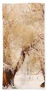 Frosted Golden Trees Beach Towel