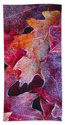 Frosted Red Oak Leaves Beach Towel