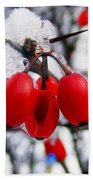 Frozen Red Berries Beach Sheet