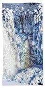 Frozen Waterfall Gullfoss Iceland Beach Towel
