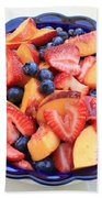 Fruit Salad In Blue Bowl Beach Towel