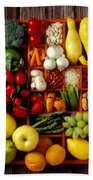 Fruits And Vegetables In Compartments Beach Towel by Garry Gay