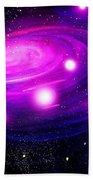 Fuchsia Pink Galaxy, Bright Stars Beach Towel