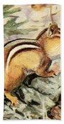 Fuertes, Louis Agassiz 1874-1927 - Burgess Animal Book For Children 1920 Striped Chipmunk Beach Towel