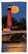 Full Moon Over Jupiter Lighthouse, Florida Beach Towel