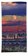 Full Moon Over New York City In October Beach Towel