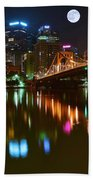 Full Moon Over Pittsburgh Beach Towel