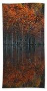 Full Of Glory - Cypress Trees In Autumn Beach Towel