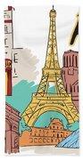 Fun Food And Folly In Paris Beach Sheet