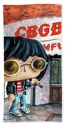 Funko Joey Ramone At Cbgb Beach Towel by Miki De Goodaboom