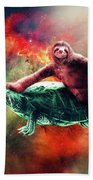 Funny Space Sloth Riding On Turtle Beach Towel