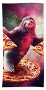 Funny Space Sloth With Pizza Beach Towel