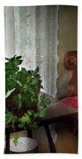Furniture - Plant - Ivy In A Window  Beach Towel by Mike Savad