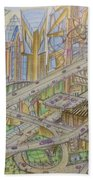 Future City After 50 Years Beach Towel