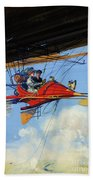 Futuristic Air Travel Vintage Poster Beach Towel