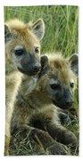 Fuzzy Baby Hyenas Beach Towel