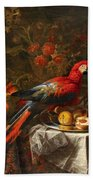 Gabriello Salci  Fruit Still Life With A Parrot Beach Towel