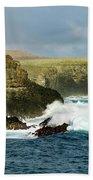 Cliffs At Suarez Point, Espanola Island Of The Galapagos Islands Beach Towel