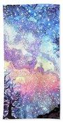 Galaxy Spring Night Watercolor Beach Towel