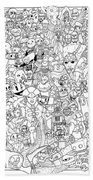 Gaming Themed Coloring Poster Beach Towel