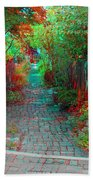 Garden Alley - Use Red-cyan 3d Glasses Beach Towel