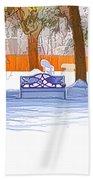 Garden  Bench With Snow Beach Towel