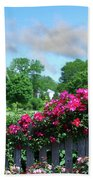Garden Fence And Roses Beach Towel