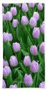 Garden Of Pink Tulips Beach Towel