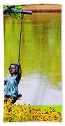 Garden Swing By The River Beach Towel