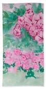 Garden With Pink Flowers Beach Towel