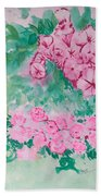 Garden With Pink Flowers Beach Towel