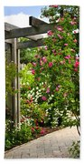 Garden With Roses Beach Towel by Elena Elisseeva