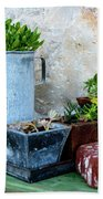 Gardening Pots And Small Shovel Against Stone Wall In Primosten, Croatia Beach Towel