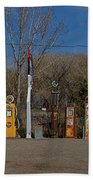 Gas Pumps And Gas Signs Panorama Beach Towel