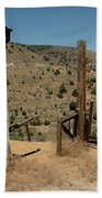 Gate Out Of Virginia City Nv Cemetery Beach Towel