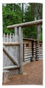 Gate To Log Camp At Fort Clatsop Beach Towel