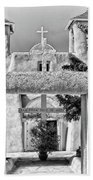 Gate To Ranchos Church Black And White Beach Towel