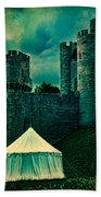 Gate Tower At Warwick Castle Beach Towel