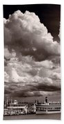 Gathering Clouds Over Lake Geneva Bw Beach Towel