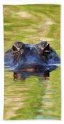 Gator In The Green - Digital Art Beach Towel