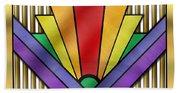 Rainbow Art Deco Beach Towel